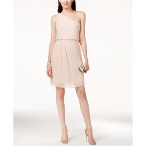 Blush Pink one shoulder chiffon bridesmaid dress